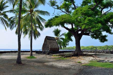 A hut on the beach at Puuhonua o Honaunau known as the Place of Refuge on the Big Island of Hawaii