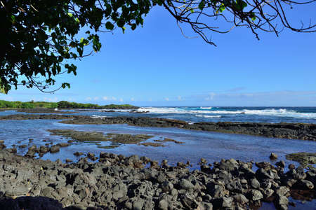 pacific ocean and lava rocks in Whittington beach park in the Big Island of Hawaii