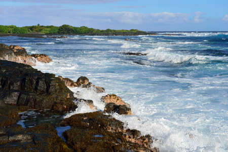 strong pacific ocean waves rushing to the shore of the Big Island of Hawaii