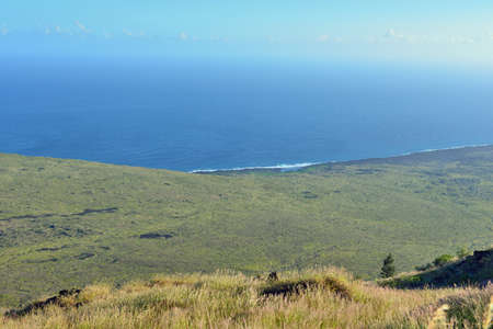 pacific ocean coastline of old lava in Volcano National Park, Big Island of Hawaii, USA