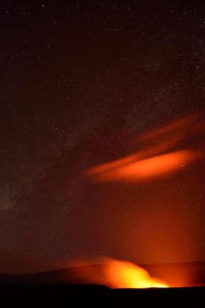 Erupting volcano in Hawaii Volcanoes National Park, Big Island, Hawaii. Night photo with long exposure