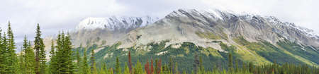 wide panoramic view of the alpine scenery along the Icefields Parkway between Jasper and Banff in Canadian Rockies Stock Photo