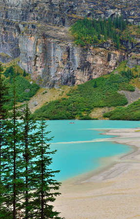Beautiful high mountains of the Canadian Rockies and an alpine river along the Icefields Parkway between Banff and Jasper