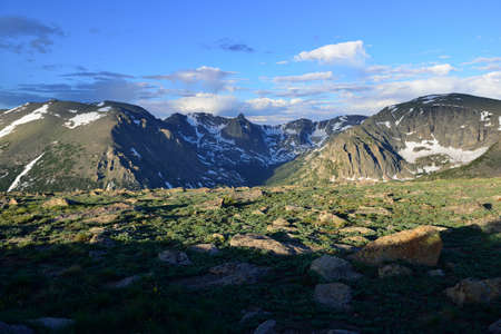 Rock cut overlook of the rocky mountains from the high alpine trail ridge road in Colorado in summer