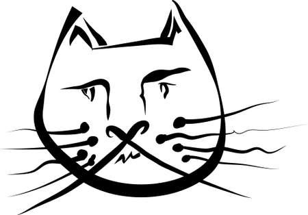 sceptic: Funny cat portrait emotion illustration