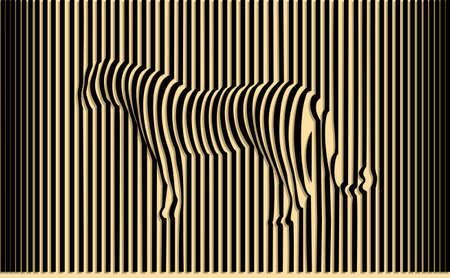 arte optico: Tigre salvaje ilusión óptica ilustración vectorial Vectores