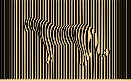 Wild tiger optical illusion vector illustration Çizim