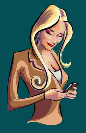 woman cellphone: Beauty business woman looking at her smartphone and checking her mails vector colorfull illustration