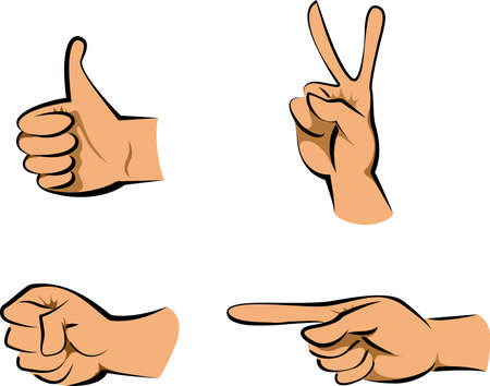Hand sign and gesture collection isolated over white background, vector illustration set