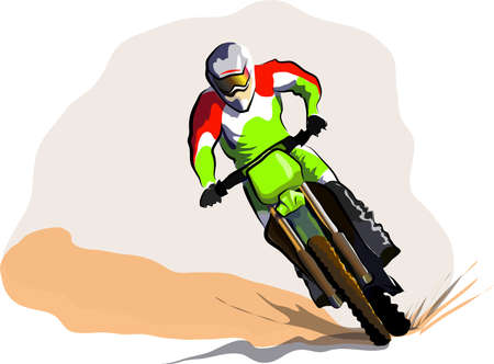 off road: Motorcucle rider on off road. Motocross vector colorfull illustration Illustration