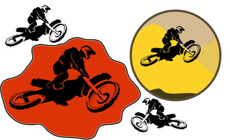 Motocross background. Silhouette of a man who jumps on a motorbike. Vector illustration. Vector
