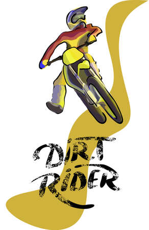 off road biking: Motorcucle rider on off road. Motocross vector colorfull illustration Illustration