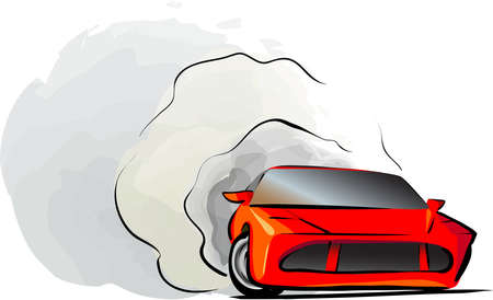 drift: red car icon. fast red drift racing automobile vector illustration