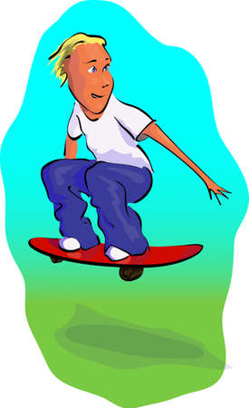 skateboard boy: Happy Skateboard Boy colorfull vector illustration