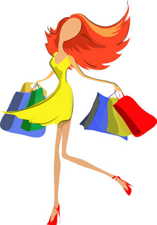 Shopping beautiful happy young woman holding shopping bags looking up to the side. Vector illustration