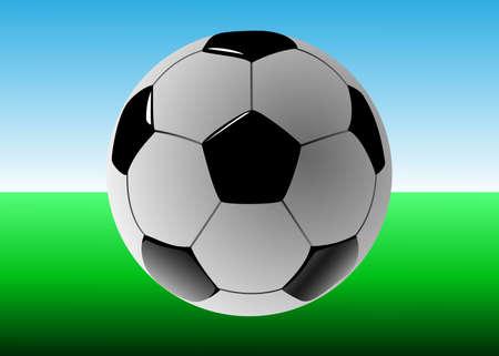 pelota de futbol: Bal�n de f�tbol en campo de f�tbol, ??ilustraci�n vectorial Foto de archivo