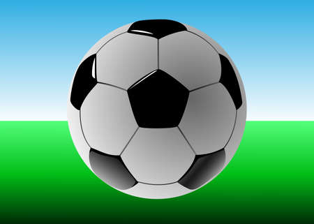 ballon foot: Ballon de football sur un terrain de football, illustration vectorielle Banque d'images
