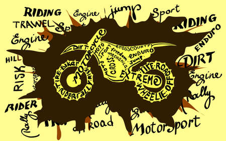 fmx: Enduro motocross grunge newspaper. Old paper background,vector illustration