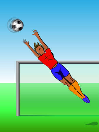 balon: Football background, gambling goalkeeper catches the ball, vector illustration