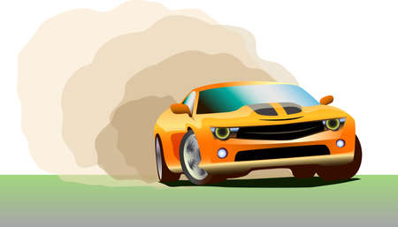racing sport car drift, bern-out, vector illustration
