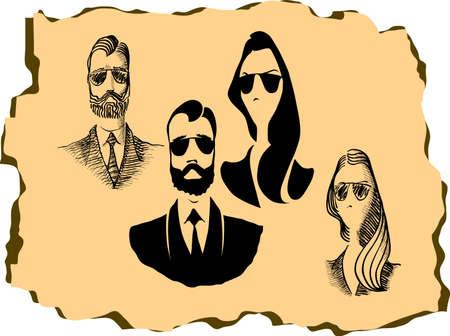 snobby: Hipster carattere dell'uomo e della donna di disegno con gli elementi a vita bassa e le icone. Illustrazione vettoriale Vettoriali
