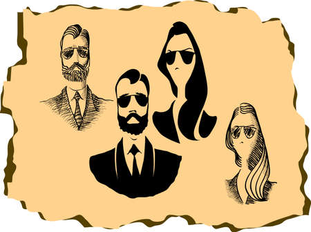 snobby: Hipster character man and woman design with hipster elements and icons. Vector illustration Illustration