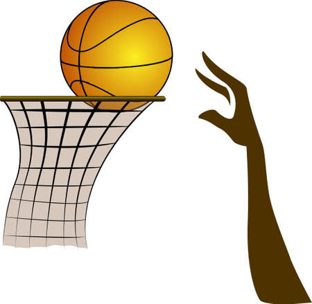 Vector illustration of Silhouette hand a Basketball Player and ball in basket on the white Background Vector