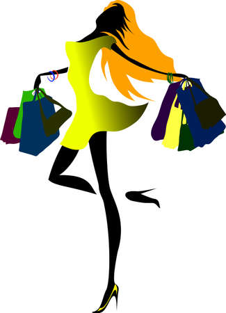 Shopping beautiful happy young woman holds shopping bags. Vector illustration