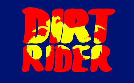 off road biking: silhouette of motorcycle in inscription dirt rider, vector illustration
