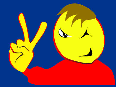 charismatic: Charismatic boy with victory fingers sign, vector illustration Illustration