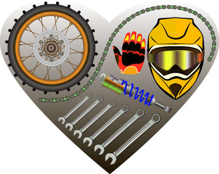 Set of tools and motorcycle parts, I like moto, vector illustration Vector