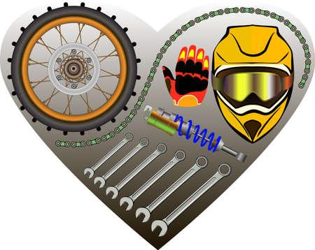 moto: Set of tools and motorcycle parts, I like moto, vector illustration