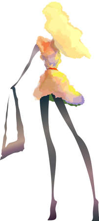 Pretty girl fairy blond with handbag in dress, romantic, vector illustration Vector