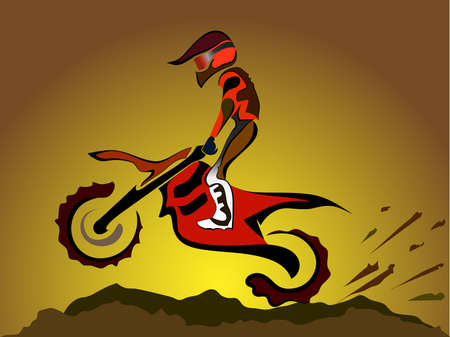 motorcycle rider: Motorcycle rider on off road. Motocross vector illustration