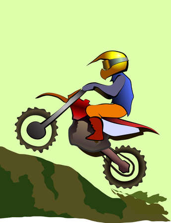 x games: Motorcycle rider on off road. Mountain Enduro vector illustration Illustration