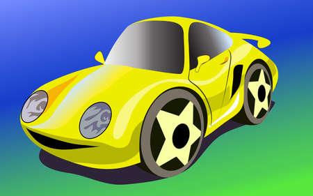 funy: Funy modern yellow cartoon car. Colorful vector illustration. Stock Photo