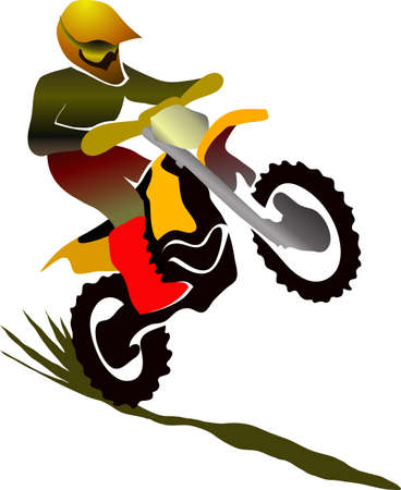 fmx: Motocross enduro background. Figure of a sportsman who rides on a motorbike on one wheel. Vector illustration.