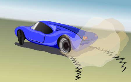 autosport: Racing blue sport car drift, bern-out, vector illustration
