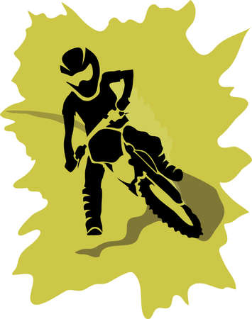 x games: Motocross enduro background. Silhouette of a man who rides on a motorbike . Vector illustration.