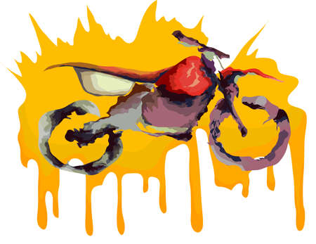 stunt: Motocross off-road bike, water color drawing. Vector illustration.
