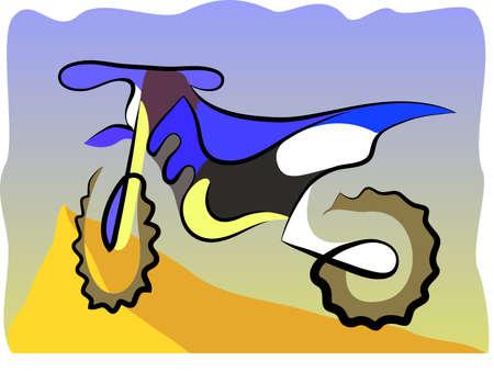 two stroke: Motocross de dos tiempos bici, dibujo colorido, ilustraci�n vectorial Vectores