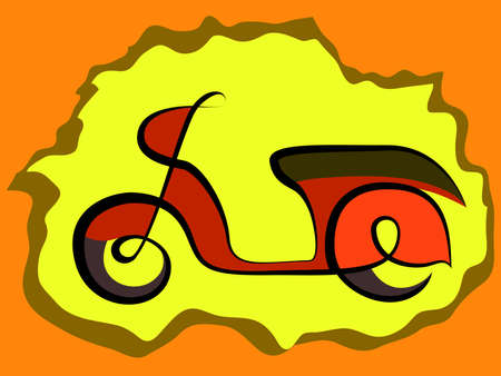 scetch: Vintage scooter, mototrcycle scetch on retro background, vector illustration
