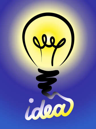 scetch: Bulb light idea line scetch vector illustration