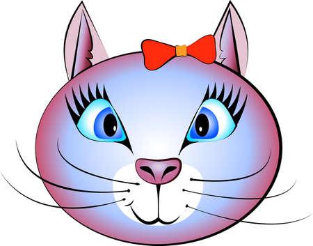 black hair blue eyes: Beautiful cat with blue eyes Illustration