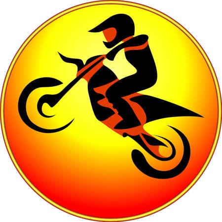 freeride: Rider motocross enduro free-style rider.  Vector illustration. Illustration