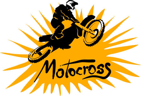 fmx: bright motocross background, motorbike silhouette fun vector illustration Illustration