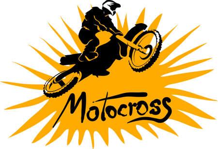 luminoso sfondo di motocross, moto silhouette divertimento illustrazione vettoriale Vettoriali