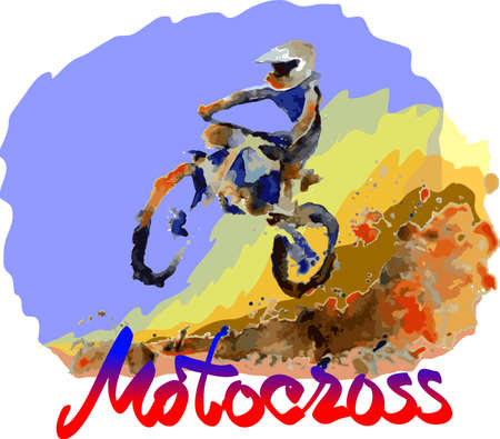 fmx: bright watercolor motocross background, motorbike rider fun vector illustration