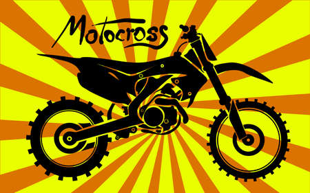 trail bike: Black silhouette of Motorcross motorcycle, dirt sand stone off-road star, vector illustration