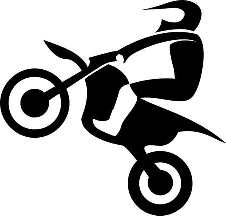 supercross: Black silhouettes Motocross Enduro rider on a motorcycle. Vector illustrations. Illustration